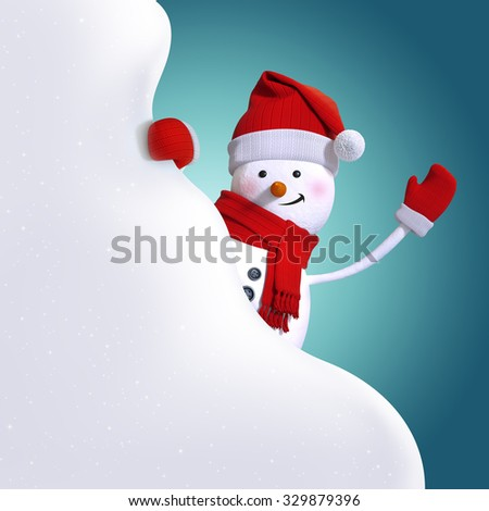 snowman holding blank snow banner, white cloud, 3d character illustration, festive clip art background - stock photo