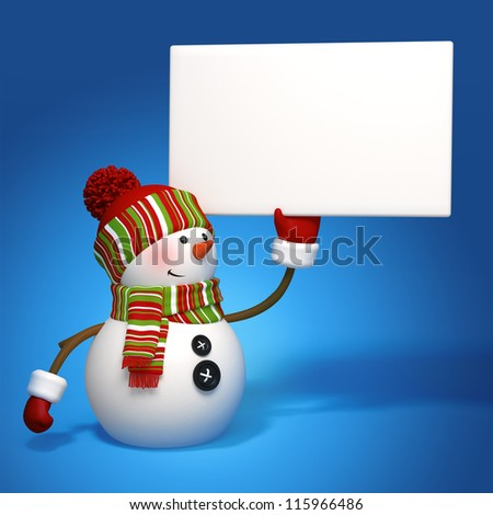 snowman holding message banner - stock photo