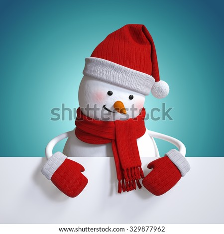 snowman holding white card, blue Christmas background, holiday clip art, 3d illustration - stock photo