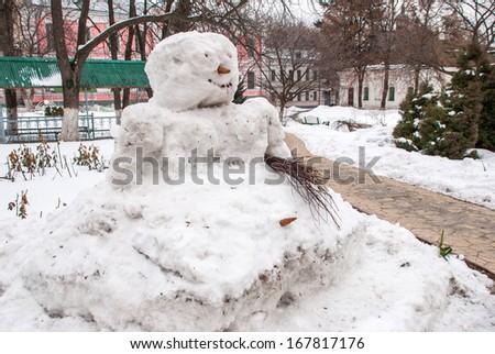Snowman in famous Pechersk Lavra Monastery in Kiev, Ukraine - stock photo