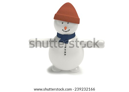 Snowman in hat and scarf standing and smiling - stock photo
