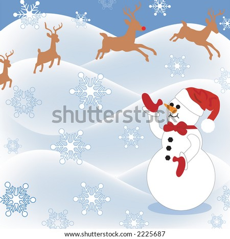 snowman in pasture waving to reindeer overhead - stock photo
