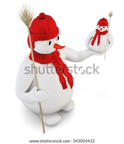 Snowman in red cap and scarf isolated on white background. 3d rendering. - stock photo
