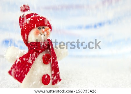 snowman in the snow - no name toy - stock photo