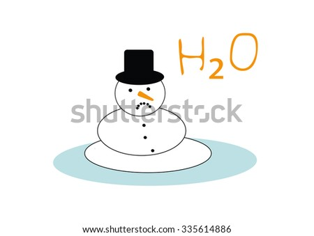 snowman is melting because of global warming - stock photo