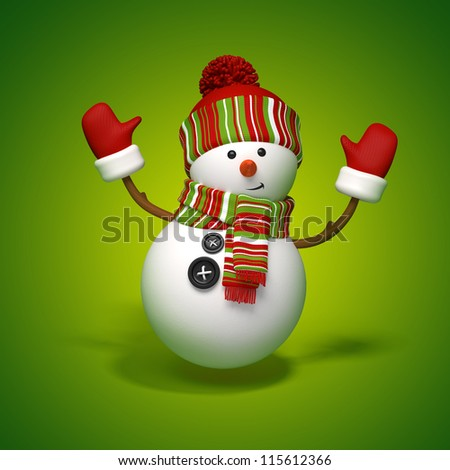 snowman jumping - stock photo