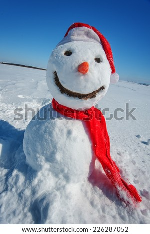 snowman look in sky and wait spring - stock photo