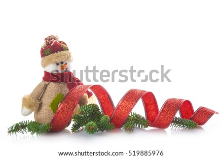 Snowman of burlap and Christmas ornaments isolated on white background