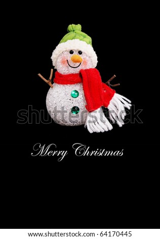 Snowman on black background, Merry christmas card - stock photo
