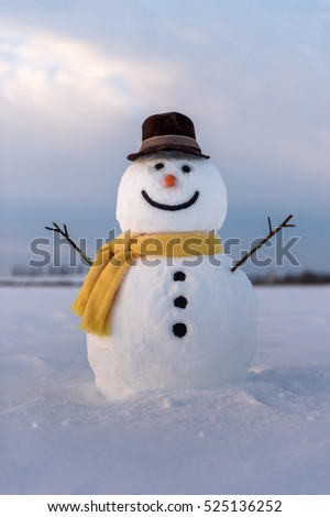 snowman on blue sky background