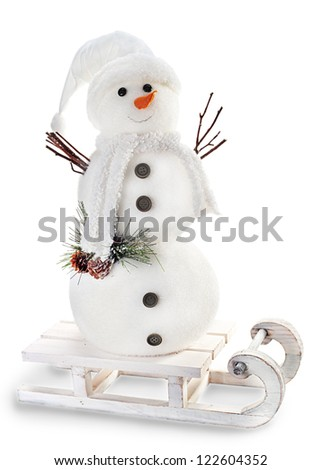 snowman on sled isolated on white background - stock photo