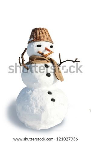 snowman on white - stock photo