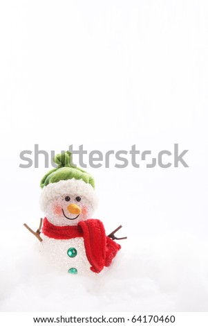 Snowman on white background, Card with space to insert text or design - stock photo