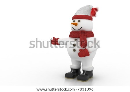 snowman pointing at something