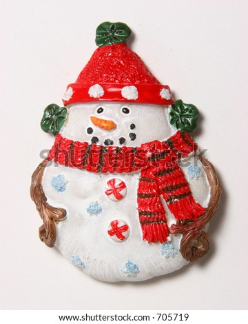 Snowman shaped ornaments on a white background.