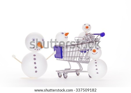 snowman shopping cart isolated on white background - stock photo