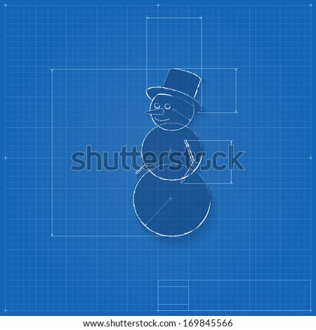 Snowman symbol drawn blueprint stylized drafting stock vector snowman symbol drawn as blueprint stylized drafting of gift sign on blueprint paper illustration malvernweather Image collections