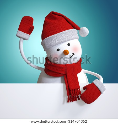 snowman waving hand, holding blank New Year banner, blue Christmasholiday background, 3d illustration - stock photo