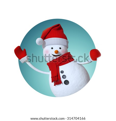snowman waving hand, looking out window, inside round label, Christmas gift tag, 3d illustration - stock photo