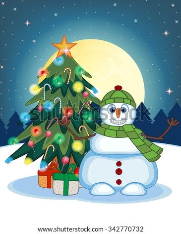 Snowman Wearing A Green Hat And Green Scarf Waving His Hand With Christmas Tree And Full Moon At Night Background For Your Design Illustration - stock photo