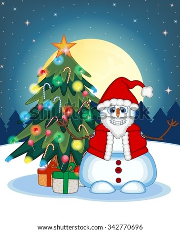 Snowman Wearing A Santa Claus Costume Waving His Hand With Christmas Tree And Full Moon At Night Background For Your Design Illustration - stock photo