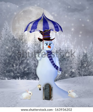 Snowman winter house - stock photo
