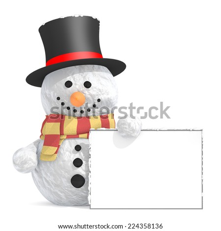 Snowman with black top hat and scarf holding a signboard in left hand