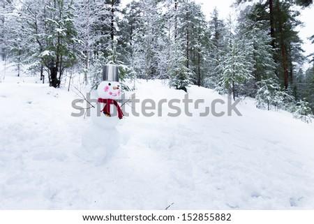 Snowman with bucket on the head - stock photo