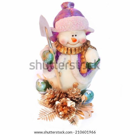 Snowman with Christmas decoration isolated on white - stock photo
