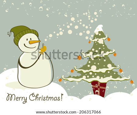 Snowman with gifts beside christmas tree. - stock photo