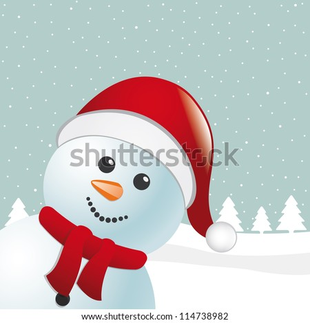 snowman with scarf and santa claus hat - stock photo
