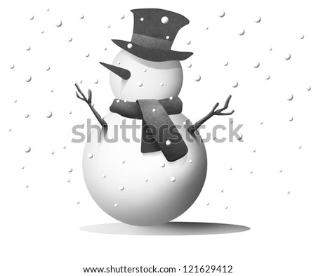 Snowman with snow background - stock photo