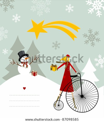 Snowman with star and gift on a bicycle illustration with blank lines to write on snowy background. - stock photo