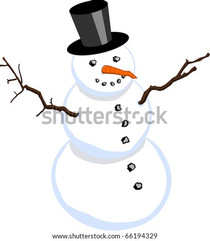 Snowman with stovepipe hat isolated on white background (vector also available)