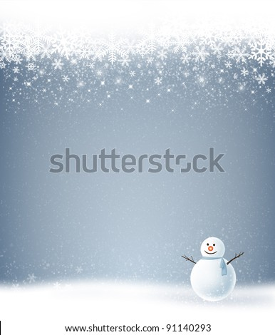 Snowman with the winter holiday season - stock photo
