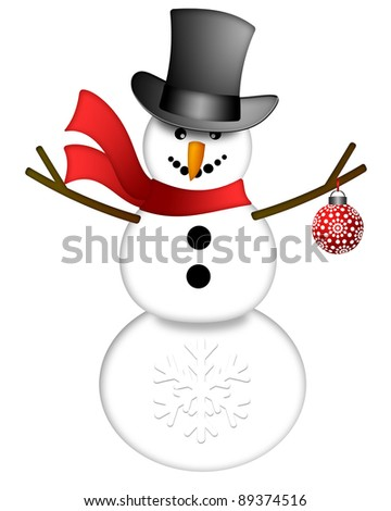 Snowman with Top Hat and Red Scarf Holding Christmas Ornament Isolated on White Background Illustration