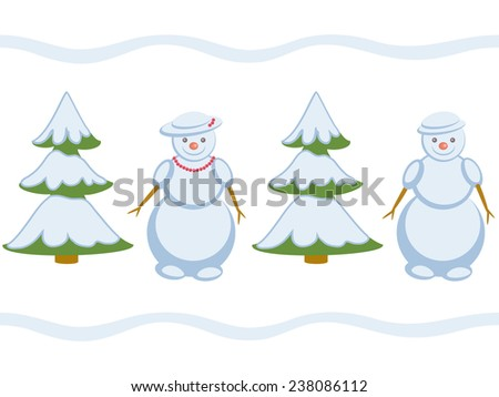 Snowmans repeating pattern  - stock photo