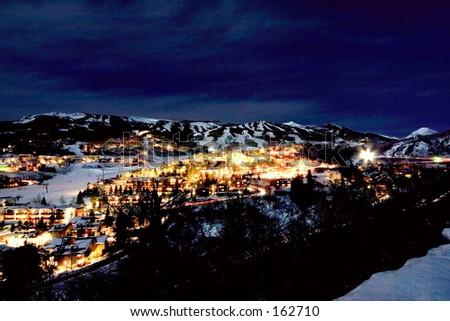 Snowmass Village at night 1 - stock photo