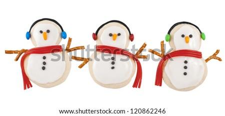 Snowmen Cookies - stock photo