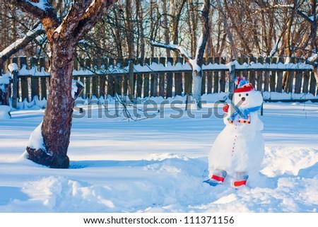 snowmen in garden - stock photo