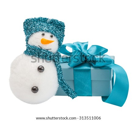 Snowmen, turquoise gift, bow,  isolated the white - stock photo