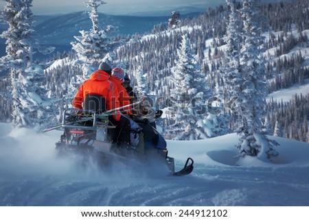 snowmobile - stock photo