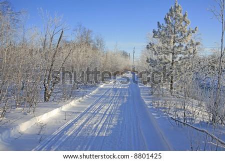 snowmobile trail sudbury ontario - stock photo