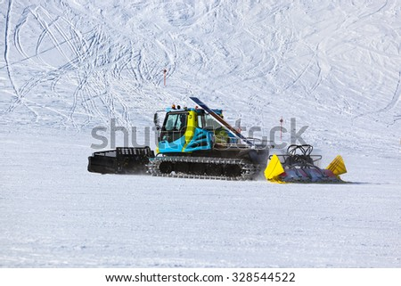 Snowplow at Mountains ski resort Innsbruck Austria - nature and sport background