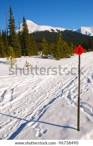 Snowshoe Trails through the mountains, Alberta Canada - stock photo