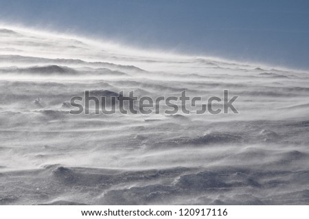 Snowstorm in the mountains - stock photo