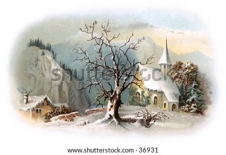 Snowy Chapel Scene - an early 1900s vintage illustration. - stock photo