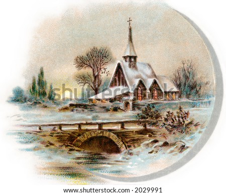 Snowy Chapel Scene, like ''Currier & Ives'' - circa 1890 vintage illustration.