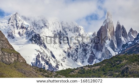 Snowy clouds over Cerro Torre in Los Glaciares National Park, Patagonia, Argentina. - stock photo