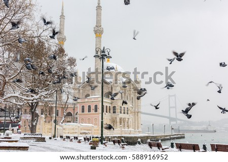 Snowy day in Ortakoy, Istanbul, Turkey. View of Ortakoy Mosque and Bosphorus Bridge.